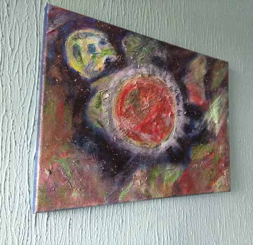 Ann Fellows Painting of Red Planet on wall