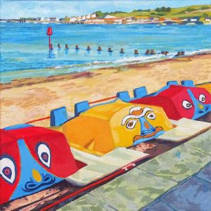 Jill Mirza Pedaloes with distant pier, Swanage