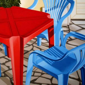 Nick Hais Red table and blue chairs