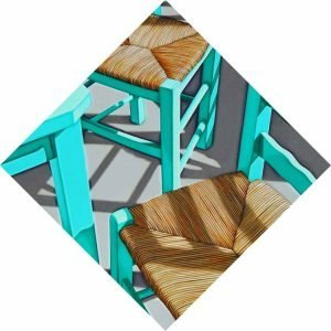 Nick Hais Green wooden table and chairs