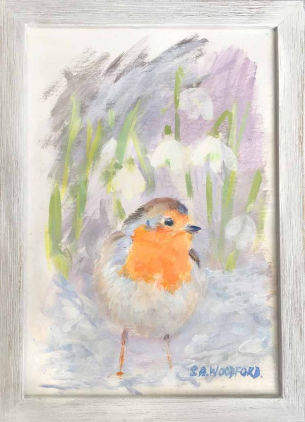 Samantha Woodford's 'Lost, -January Robin, with snowdrops' artwork