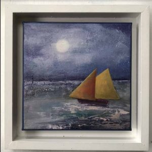 Swanage sailing is a framed print by Dorset artist Kitty Wass.