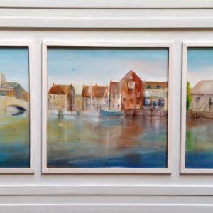Triptych of Wareham framed painting by Eddie Burrows