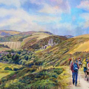 Graham Lindsay Towler Walkers approaching Corfe Castle