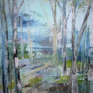 Beyond Silver Trees is a framed original painting by Dorset artist Jude Taylor.
