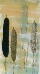 Bulrushes in the Misty Morn is an original artwork by Wimborne artist Wendy Jump