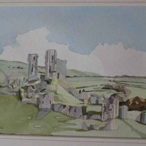Corfe Castle from West Hill.