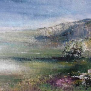 Evening Light at Chapman's Pool is an original painting by Dorset artist Jude Taylor.