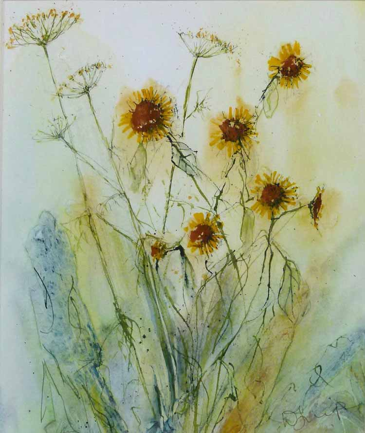 Fennel and Fleabane is an orignal watercolour by Wimborne artist Wendy Jump