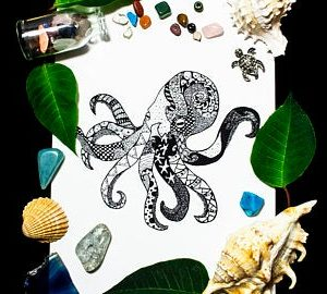 Octopus print by Skulls and Lilies