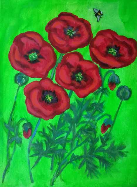 Poppies is an original painting by Ann Fellows