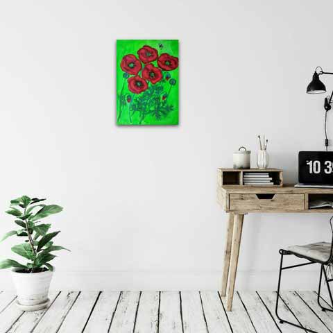 Poppies painting displayed on wall