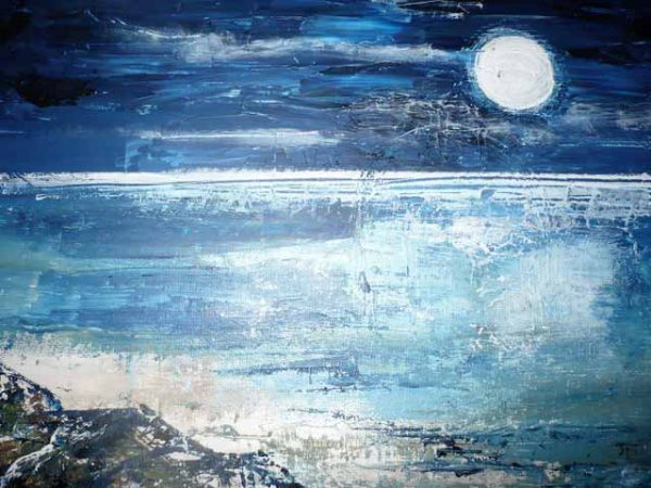 Silver Moon at Studland is a framed original painting by Dorset artist Jude Taylor.