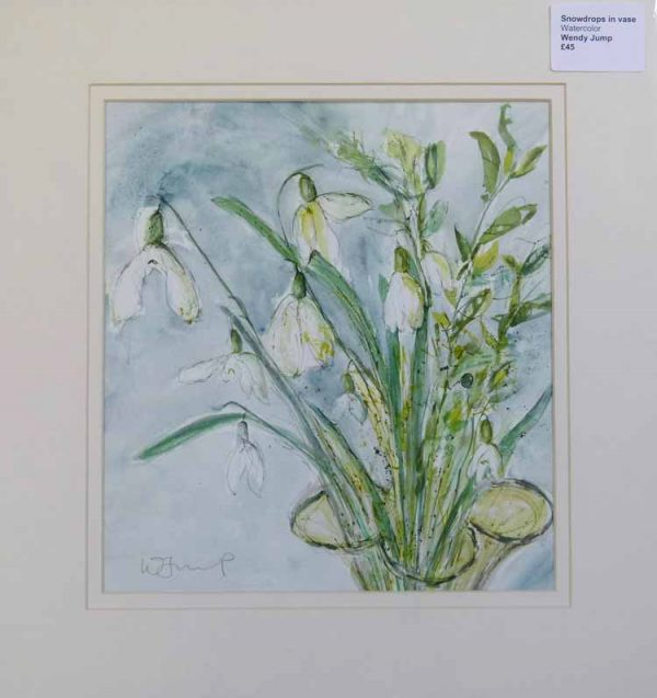 Snowdrops in a vase mounted painting by Wendy Jump