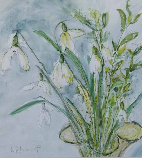 Snowdrops in a vase painting by Wendy Jump