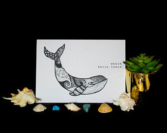 Whale print by Skulls and LIllies