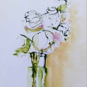 White Rose Posy Painting by Wendy Jump