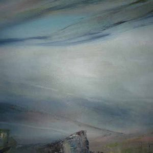 Misty Dawn Purbecks is a framed original painting by Dorset artist Jude Taylor.