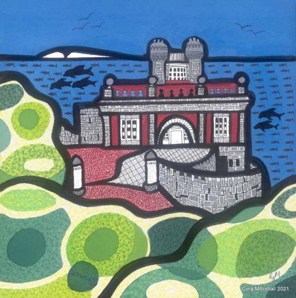 A Leap in Time at Durlston Castle art print by Swanage artist Gina Marshall.