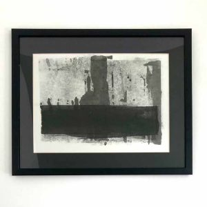 Cliff is a framed original ink painting by Purbeck artist Katie Owen.