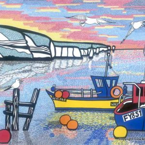 Fishing Boats in Swanage Bay art print by Swanage artist Gina Marshall.