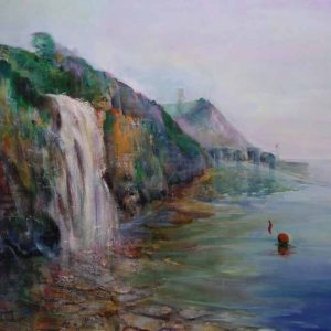 Kimmeridge waterfall is an original painting by local artist Eddie Burrows.