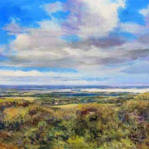 Poole Harbour seen from Nine Barrow Down, fine art print on canvas by Dorset artist Graham Lindsay Towler.
