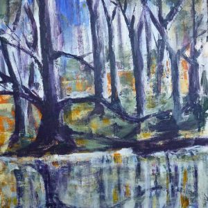Rushy pond 2 is an framed original painting by Dorset Artist Jill Marsden.