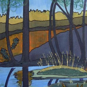 Rushy pond is an framed original painting by Dorset Artist Jill Marsden.