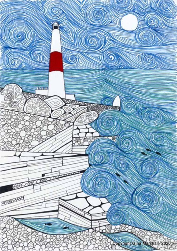 Storm at Portland Bill art print by Swanage artist Gina Marshall.