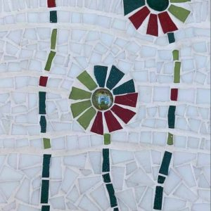 Three Stems is a hand-crafted mosaic by Dorset artist Kitty Hartnell.