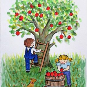 Apple Harvest children at play by Marjan's Art.