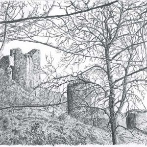 Corfe Castle Through the Trees is a graphite pencil on paper artwork by Dorset artist Ian Hedley.
