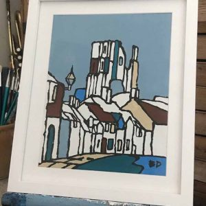 Ed Marriott painting of Corfe Castle and village