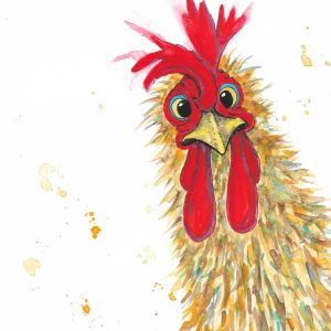Rooster being curious by Marjan's Art