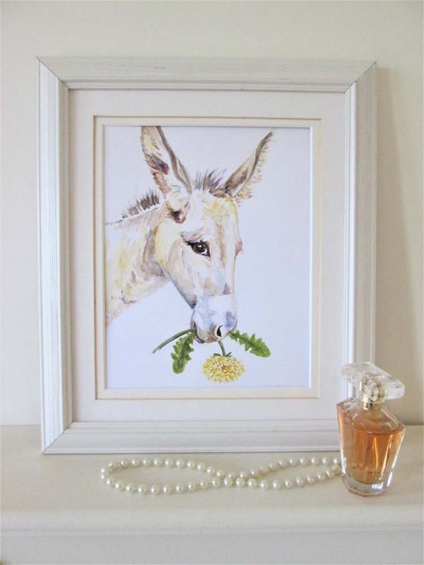 Cute Donkey with Flower Framed