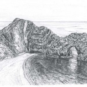 Durdle Door is a graphite pencil on paper artwork by Dorset artist Ian Hedley.