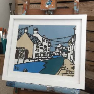 Anchor Inn at Corfe village painting by Ed Marriott