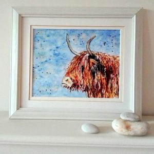 Framed Highland Cow by Marjan's Art