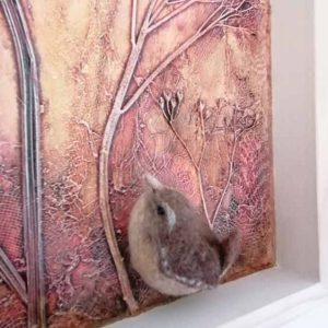 Detail of the Wren Mixed Media Artwork by Linda Courtney
