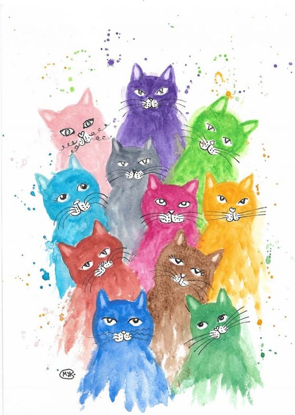 Rainbow Cats and Kittens by Marjan's Art