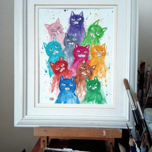 Rainbow Cats and Kittens original watercolour by Marjan's Art.