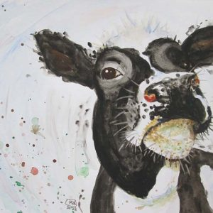 Cute Cow portrait original watercolour by Marjan's Art.
