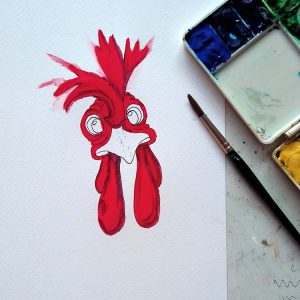 Rooster being curious being painted