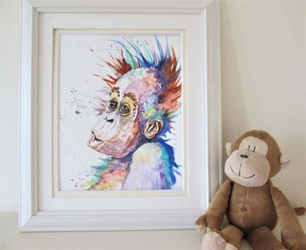 Framed Orangutan by Marjan's Art