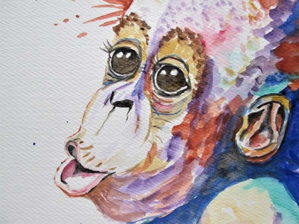 Detail of Orangutan by Marjan's Art