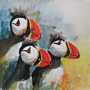 Puffins by Marjan's Art.