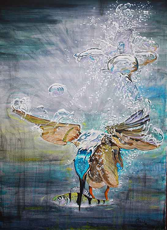 The Kingfisher original painting by Annie Lovelass.
