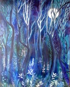 The Night Wood print by Dorset artist Mary Brightwell