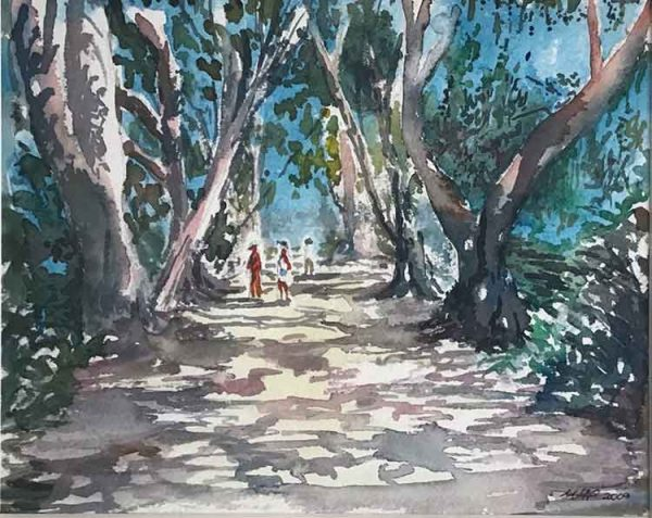 Sun and Shade in Adelaide is an original painting by Dorset artist Mark Pender.